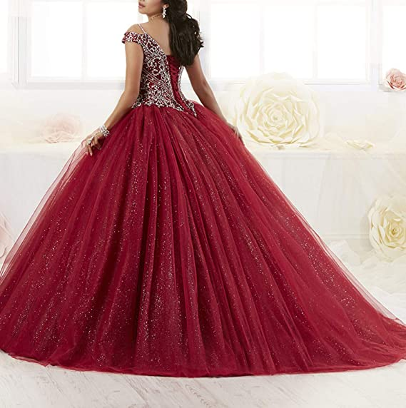 7a8ece9e5fa03 Graceprom Women s Puffy Beaded Crystal Quinceanera Dresses Ball Gown Sweet  16 Dresses at Amazon Women s Clothing store