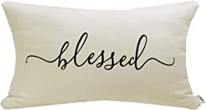 """Meekio Farmhouse Pillow Covers with Blessed Quote 12"""" x 20"""" Farmhouse Rustic Décor Lumbar Pillow Covers with Saying Housewarming Gifts Family Room Décor"""