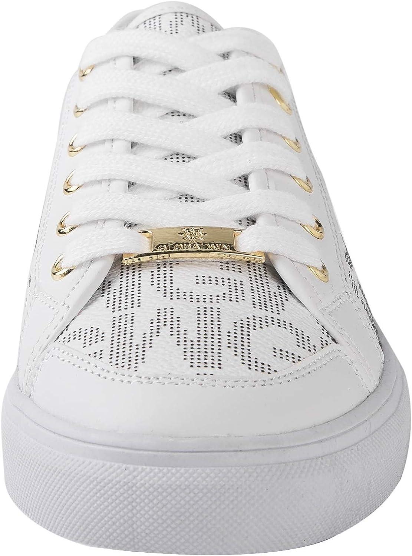 GLOBALWIN Women's Fashion Sneakers Low Top Casual Walking Shoes 2007white/Prints