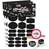 84 Noir Kitchen Labels · Cuisine Tableau Autocollants