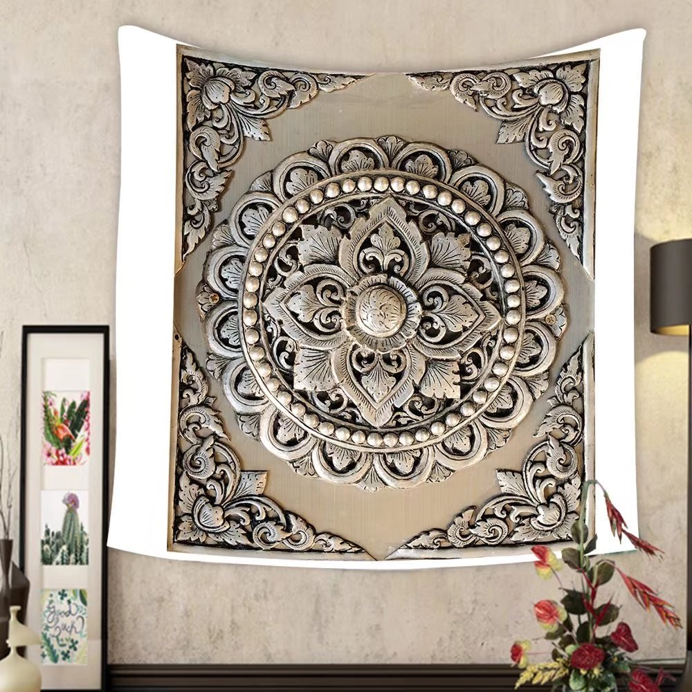 Carolyn J. Morin Custom tapestry decorative art of lanna thai engraving of the silver value by Carolyn J. Morin