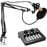 Leeofty Kit de micrófono Condensador de grabación de Estudio de radiodifusión Profesional con Tarjeta de Sonido Externa…