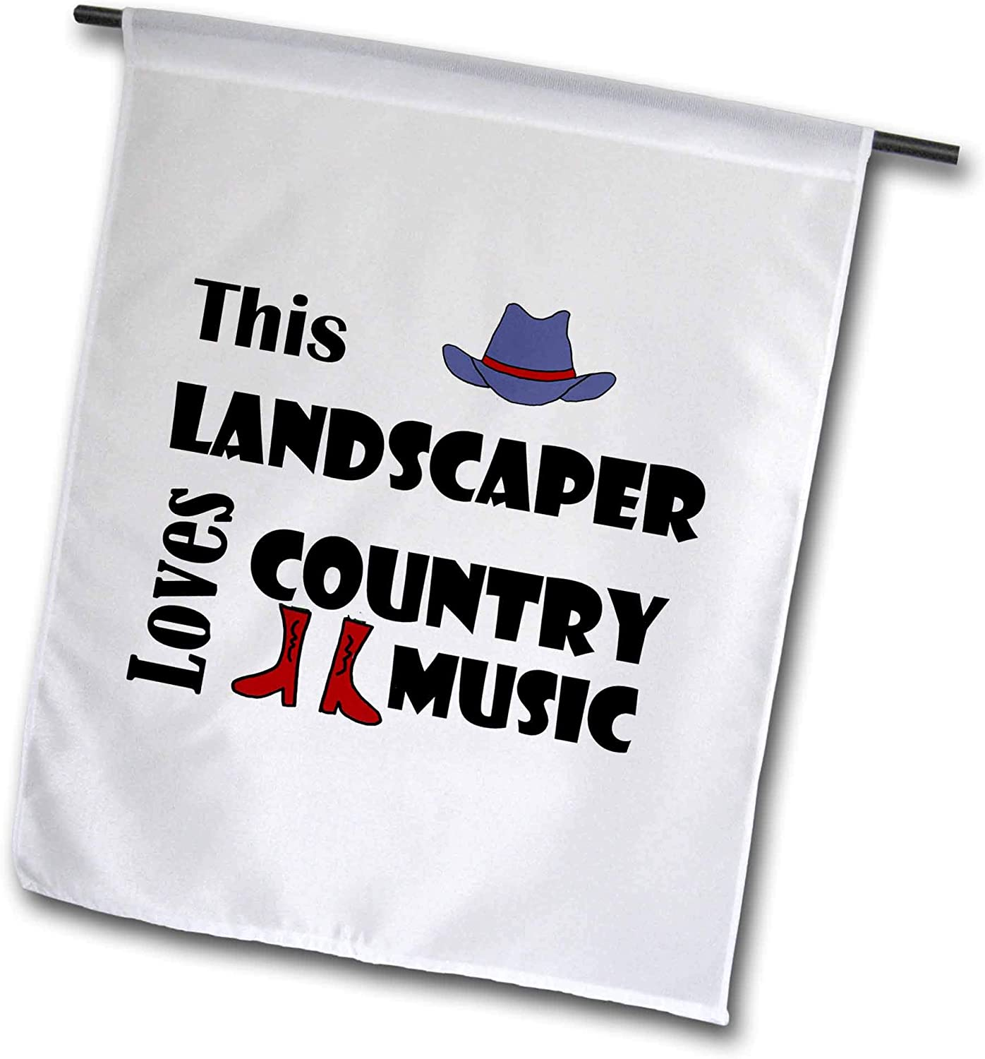 3dRose All Smiles Art - Music - Funny This Landscaper Loves Country Music with Cowboy hat and Boots - 12 x 18 inch Garden Flag (fl_308368_1)