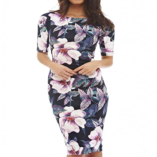 Unique-Shop Casual Dresses Party O-Neck Summer Vestidos Sheath 28 Styles Floral Print