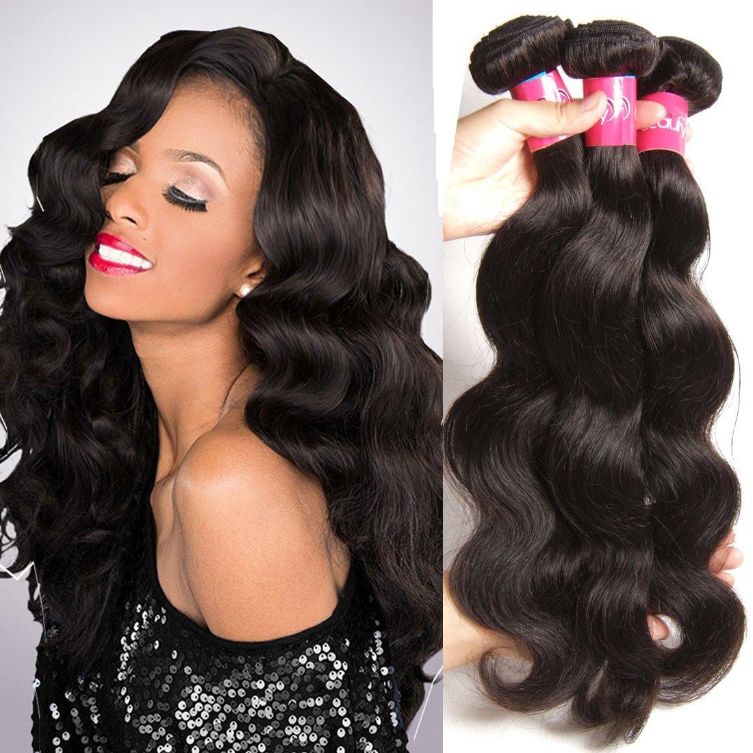 Amazon.com   Sunber Hair Real Brazilian Virgin Hairs Body Wave 3 Pcs ... c9f55125d247