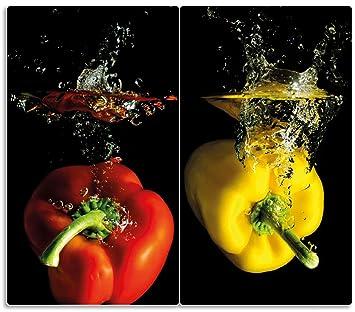 Spritzschutz aus Sicherheitsglas Glastafel Chillischoten im Wasser Pepperoni rot