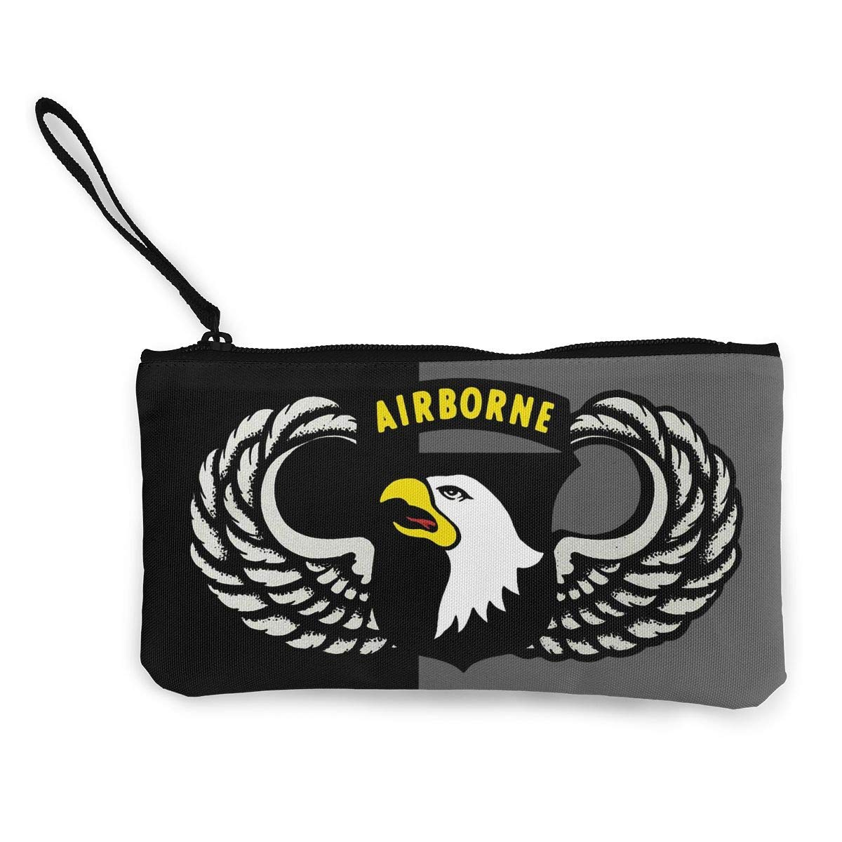 Vintage 101th Airborne Insignia Unisex Canvas Coin Purse Wallet Coin Purse Canvas Zipper Wallet
