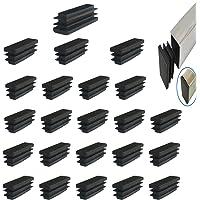 YouU 24 piezas Rectángulo negro tapón de plástico tapa de extremo muebles silla pierna pie cubierta tapa tubo inserta…