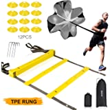 XGEAR Speed Agility Training Set - Indoor Outdoor TPE Adjustable Rungs Agility Ladder, Resistance Parachute, 4 Steel Stakes, 12 Disc Cones - Kit for Soccer, Lacrosse, Hockey, Basketball Drill