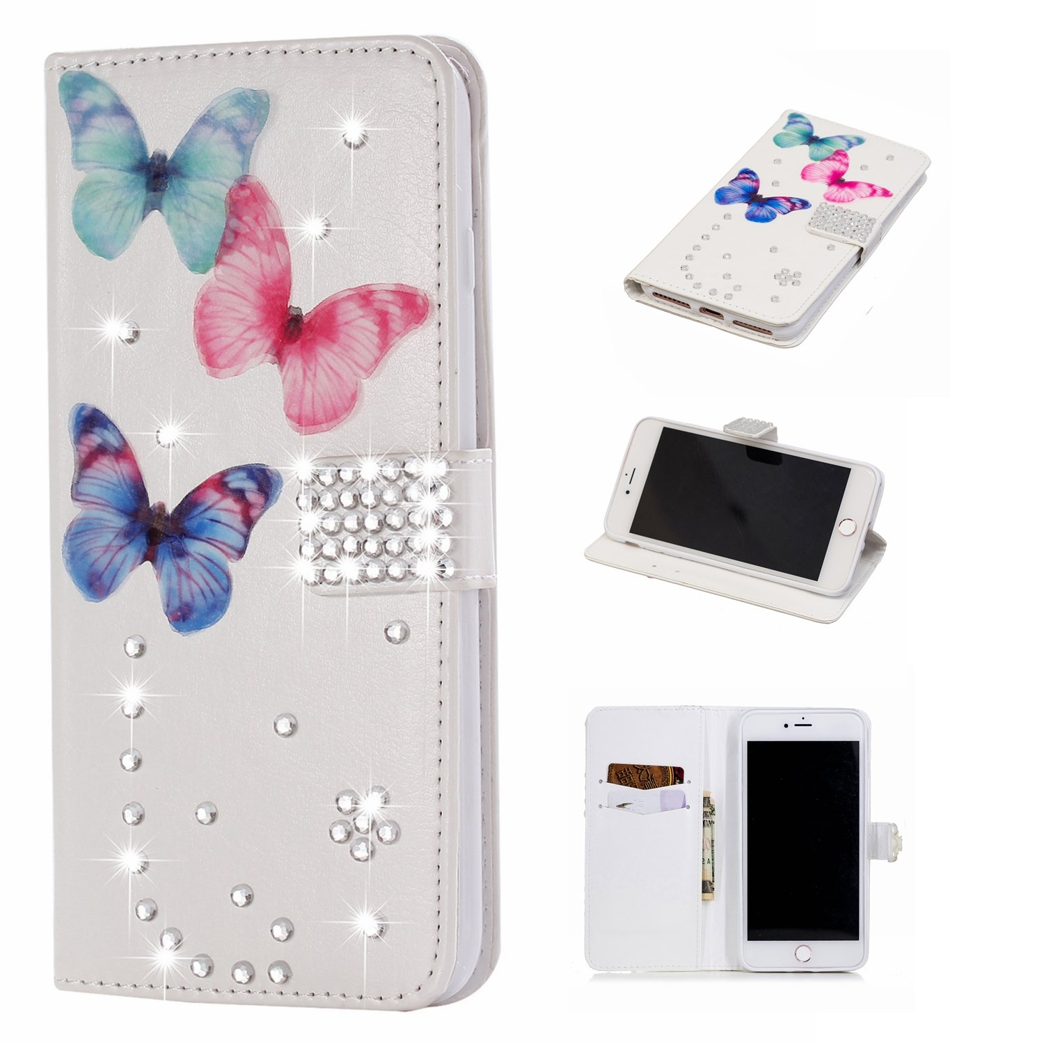 Bling Diamond Wallet Case for iPhone 7 Plus,Gostyle iPhone 8 Plus Handmade 3D Shiny Glitter Crystal Rhinestone Leather Flip Stand Cover with Credit Card Slots Magnetic Closure,Butterfly & Gems
