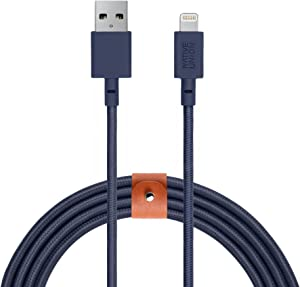 Native Union BELT Cable XL - 10ft Ultra-Strong Reinforced [Apple MFi Certified] Lightning to USB Charging Cable with Leather Strap for iPhone/iPad (Marine)