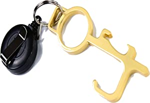 Germ Key Tool, No Touch Door Opener, Clean Key, Brass Door Opener, Key Smart Antimicrobial Hand Tool, Safe Touch Tool, Hygiene Hand, Bonus Retractable Badge Keychain