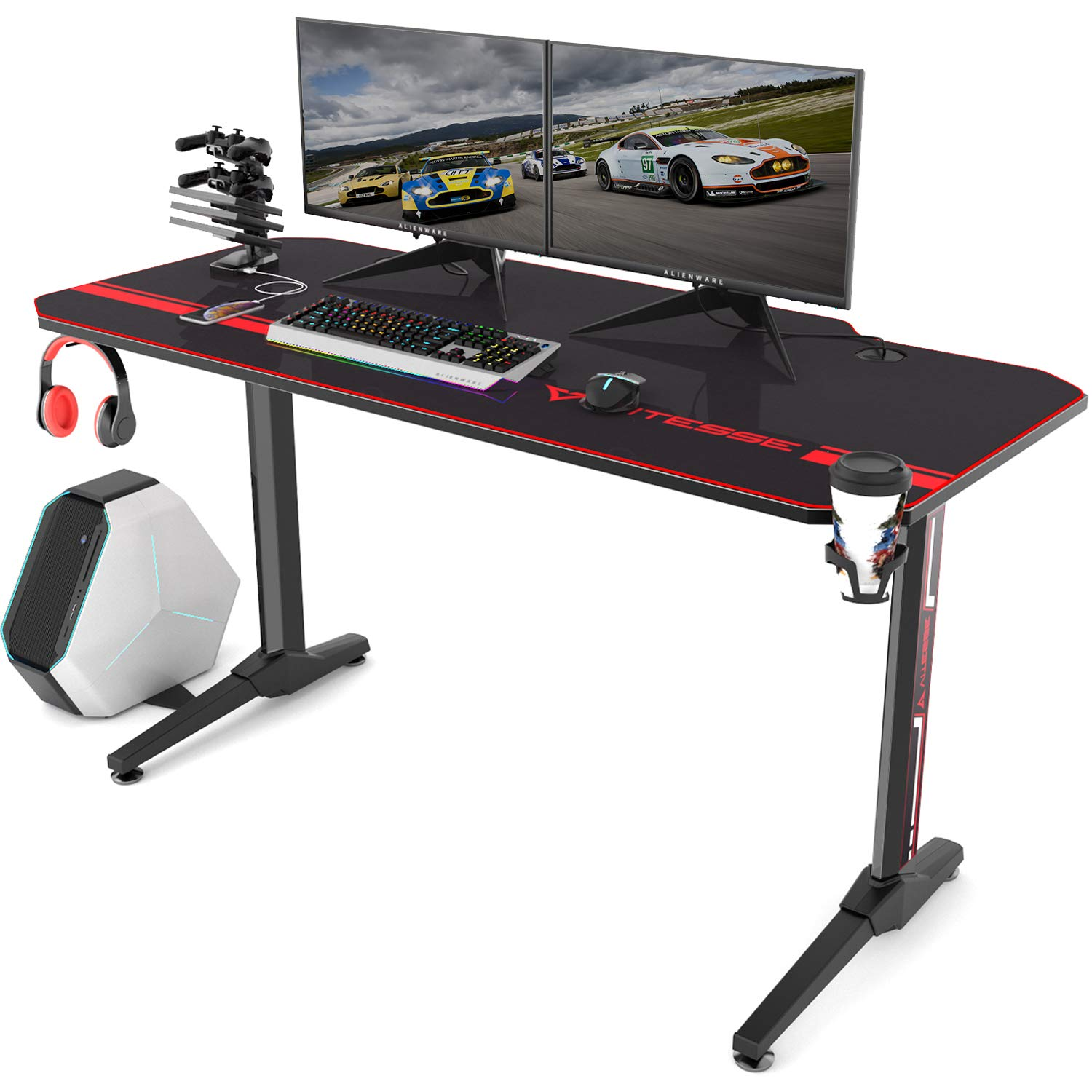 Vitesse 55 inch Gaming Desk T-Shaped Computer Desk with Free Large Mouse pad, Racing Style Professional Gamer Game Station with USB Gaming Handle Rack, Cup Holder & Headphone Hook by Waleaf