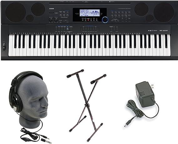 Casio WK6500 76 Key Touch Sensitive estación de trabajo teclado paquete con fuente de alimentación, soporte y auriculares