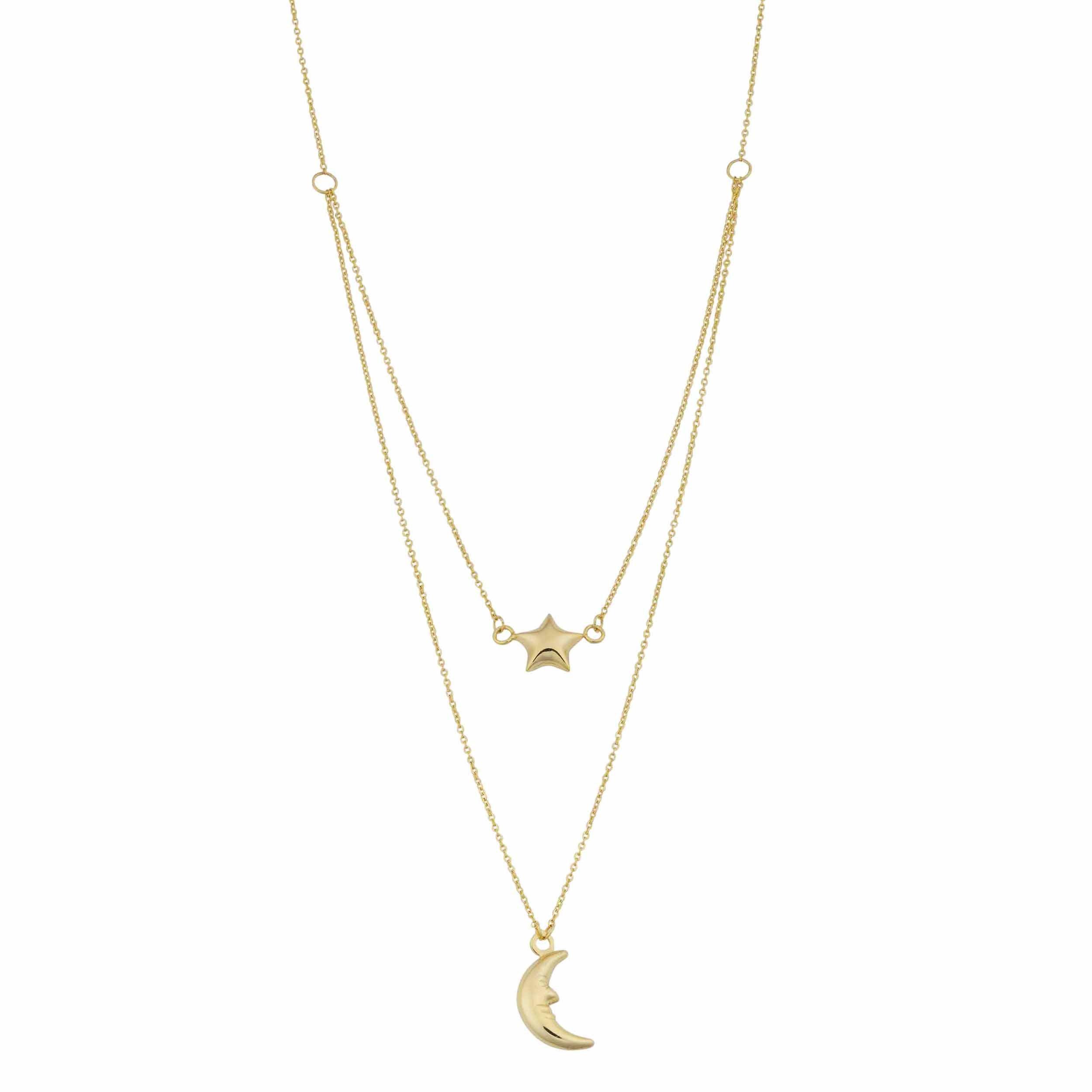 Kooljewelry 10k Yellow Gold Moon and Star Layered Necklace (17 inch) by Kooljewelry