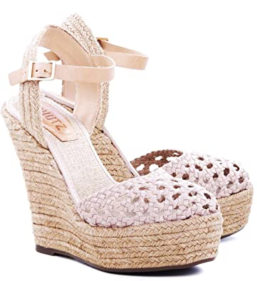 0495b4b17c1f SCHUTZ Truxton Lightwood Caged Nude Espadrille Closed Toe Belatrix Wedge  Sandal (10)
