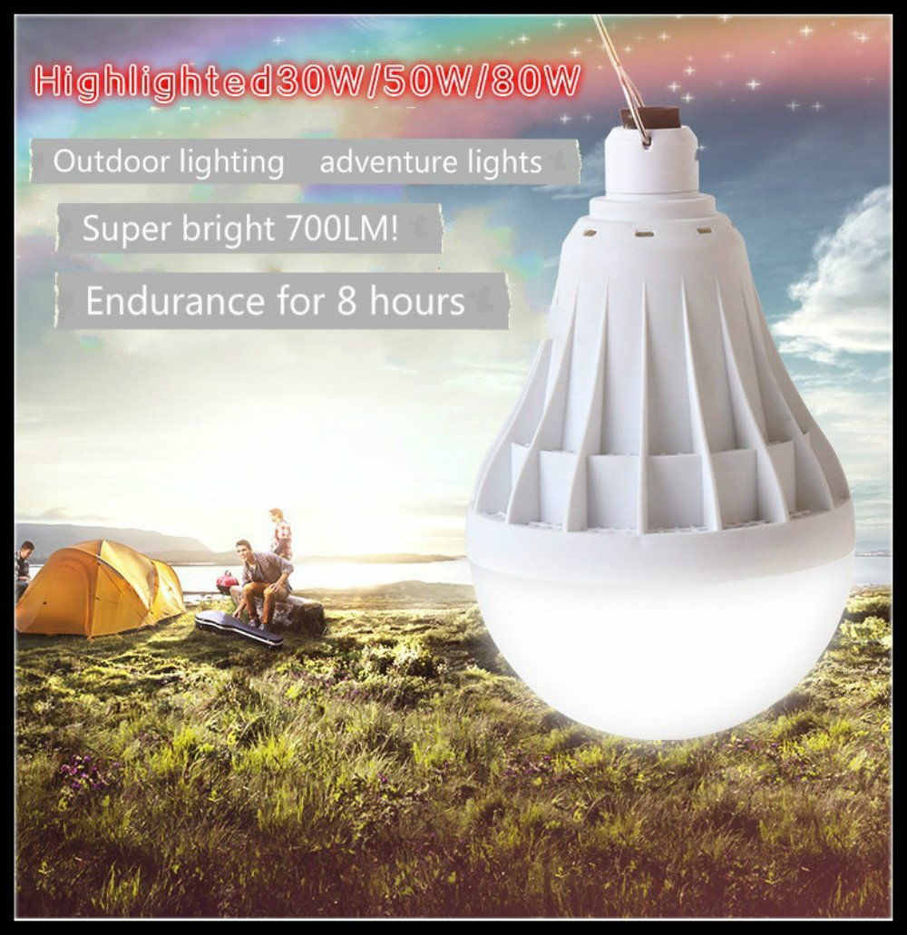 YT Ultra Bright Outdoor Adventure Lights, party lights,Camping Lights, BBQ, Party, Christmas Lights, Rechargeable Home Lighting LED Emergency Light Bulbs. 30w / 50w / 80w. Unit 1 (500LM)