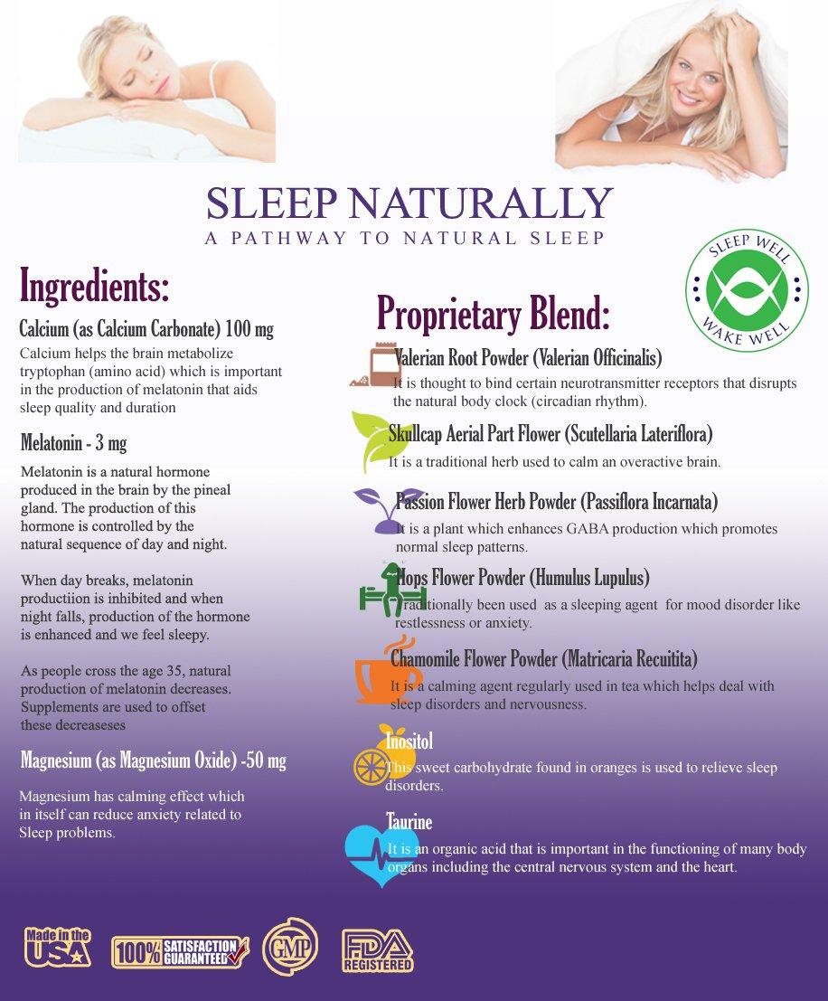 Amazon.com: Sleep Naturally - Sleep Aid w/ Melatonin - Non Addictive Sleeping Pills with a Free E-book - Natural Valerian Root Chamomile Get Deeper More ...