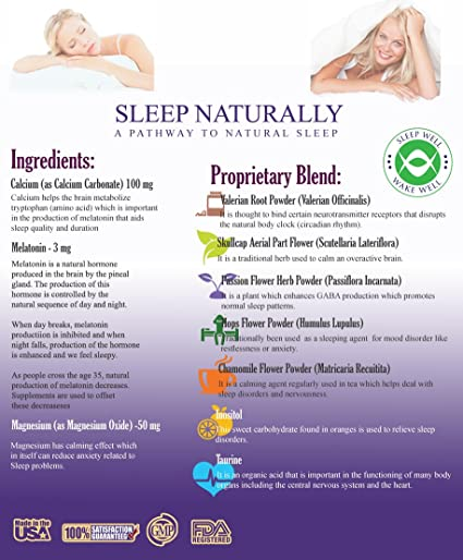 Amazon.com: Sleep Naturally - Sleep Aid w/ Melatonin - Non Addictive Sleeping Pills with a Free E-book - Natural Valerian Root Chamomile Get Deeper More ...