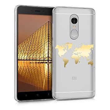 kwmobile Funda para Xiaomi Redmi Note 4 / Note 4X - Carcasa Protectora de TPU con diseño de Mapa del Mundo en Dorado/Transparente