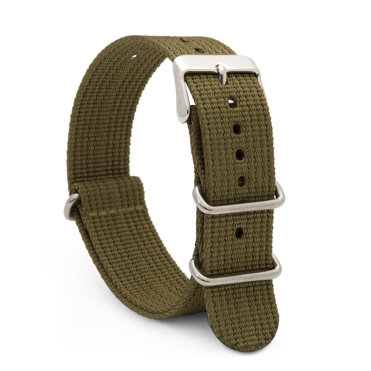 Speidel NATO Watch Band 20mm Army Green Woven Military Style Nylon Strap with Heavy Duty Stainless Steel Keepers and Buckle
