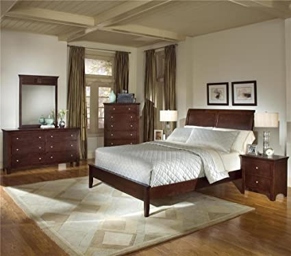 Roundhill Furniture Le Charmel 5 Piece Low Profile Bedroom Set, Includes  Queen Bed,