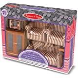 Melissa & Doug Classic Victorian Wooden and Upholstered Doll's House Living Room Furniture (9 pcs)