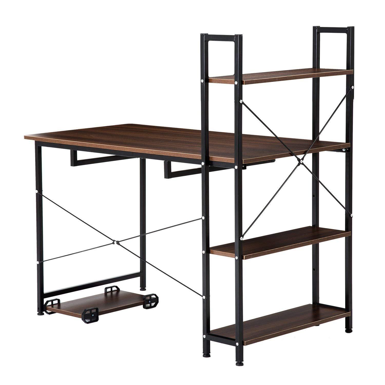 Computer Desk,Modern Style Office Desk with 4 Tier Bookshelves Workstation,Home Corner Desk Wood & Metal(Brown)