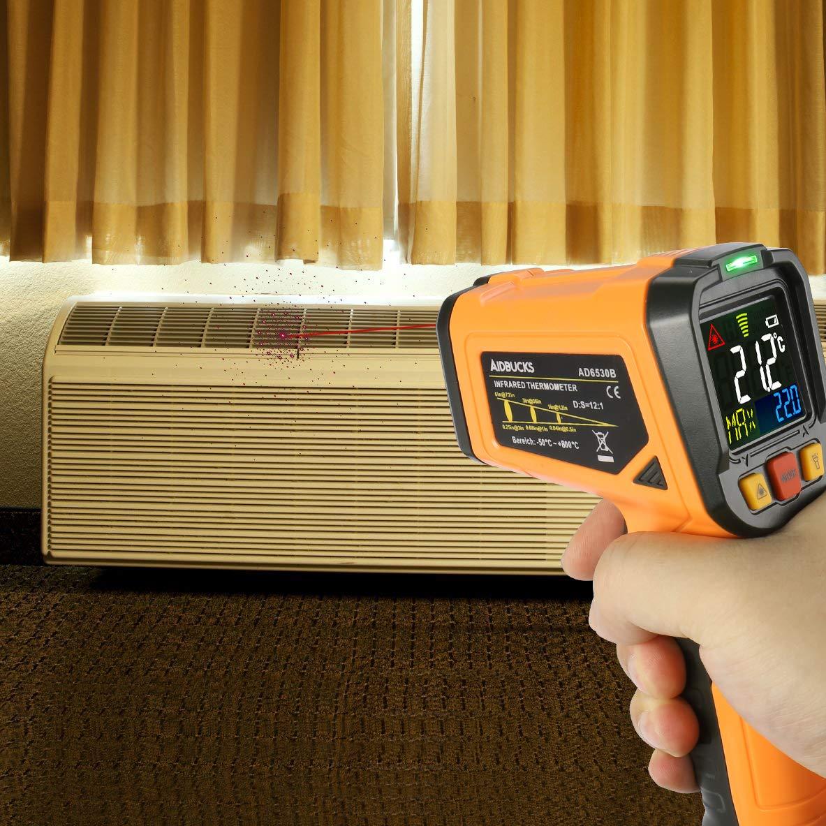 50 /°C /à 800 /°C avec 12 point Fonction de Alarme de temp/érature douverture Thermom/ètre infrarouge Janisa Ad6530b Laser Digital sans contact IR Pistolet de temp/érature /écran couleur