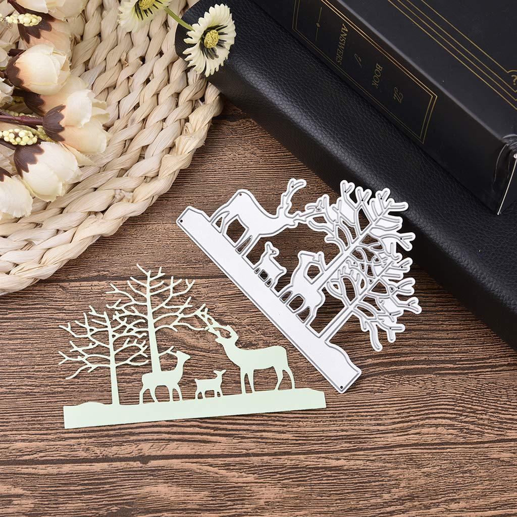 Kimyu Weihnachtselche Metall Stanzformen Schablone DIY Scrapbooking Pr/äge Papier Karte Geschenk Dekor