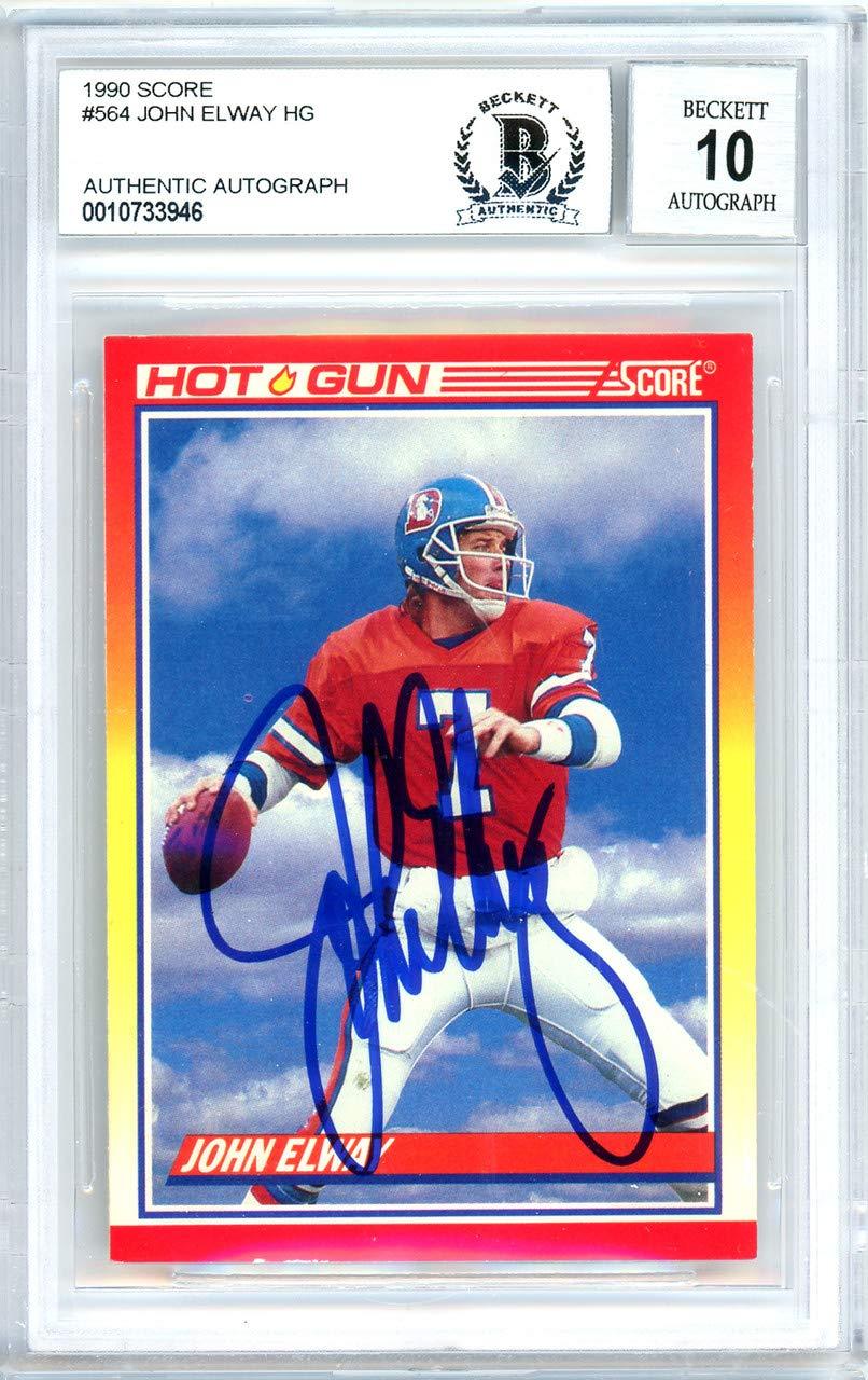 43302636a28 John Elway Autographed 1990 Score Card Autographed  564 Denver Broncos Gem  Mint 10 - Beckett Authentic at Amazon s Sports Collectibles Store
