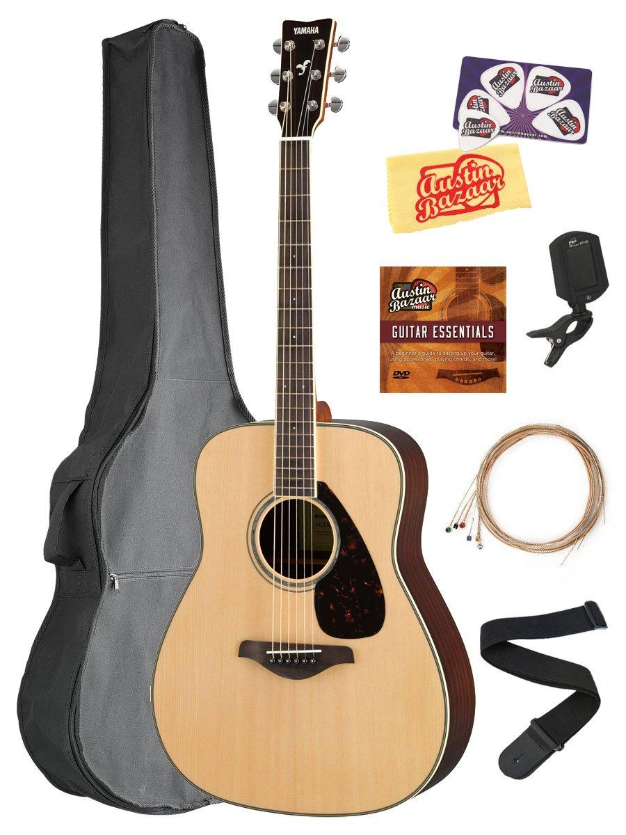 Yamaha FG830 Solid Top Folk Acoustic Guitar - Natural Bundle with Gig Bag, Tuner, Strings, Strap, Picks, Austin Bazaar Instructional DVD, and Polishing Cloth