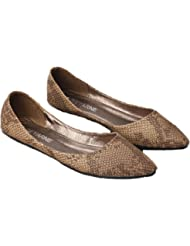 Plaid&Plain Women's Snakeskin Leather Pointed Toe Elusion Ballet Flats