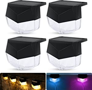 Solar Fence Lights Outdoor 4 Pack Solar Deck Lights Led Waterproof Solar Step Lights Warm White/ 7 Color Changing Color Glow Solar Lamps for Patio/Garden Decor/Railings & Pathway/Pool