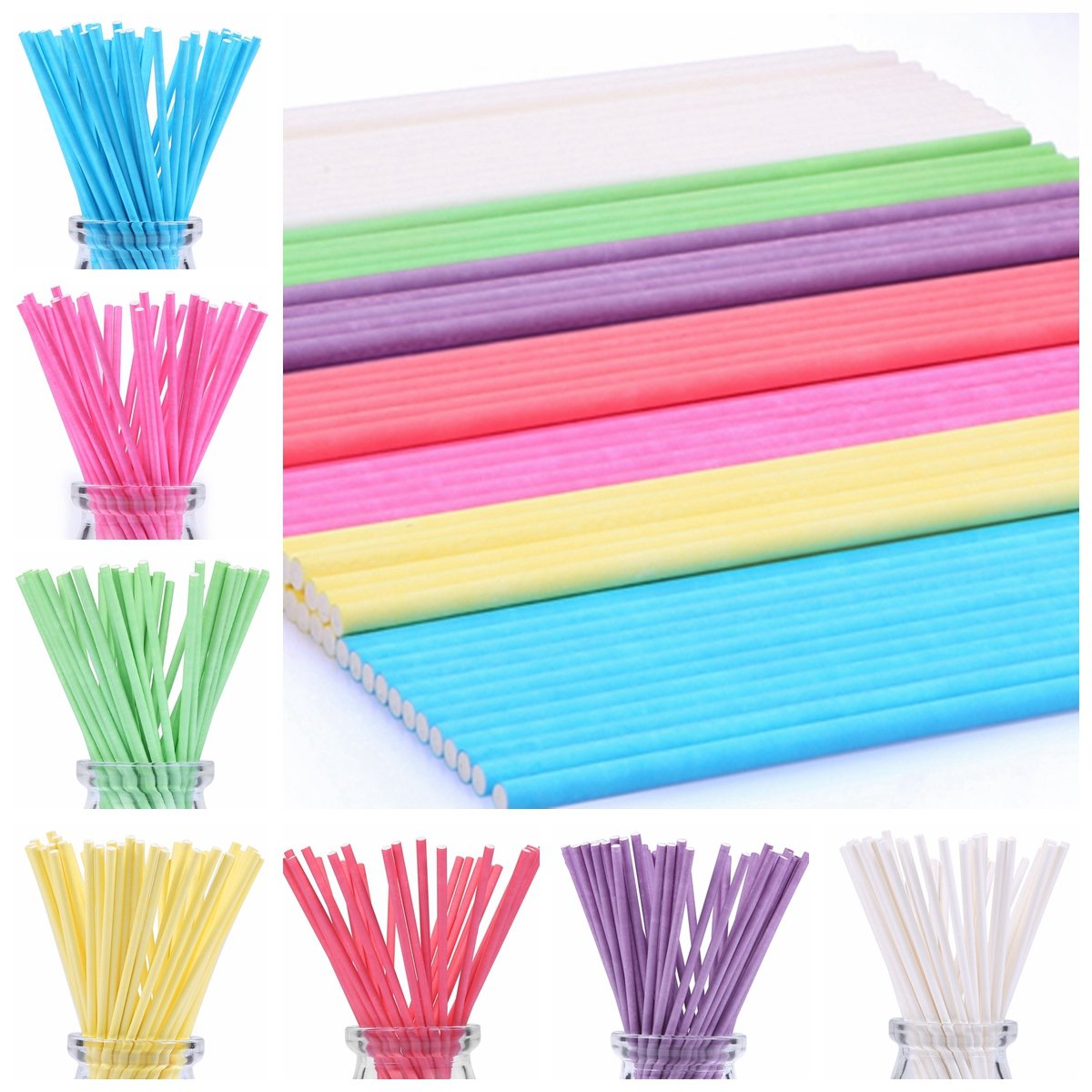 210ct 6 inch Colored Lollipop Sticks 7 Colors for Cake Pops Apple Candy (Rose-red, Blue, Yellow, Purple, Green, Watermelon Red, White) BakeBaking CP033102