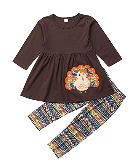 81864a000bb62 Urkutoba Thanksgiving Clothing 2-7T Children Girls Brown Turkey Dress  T-Shirt Tops Geometry Long Pants Thanksgiving Outfit