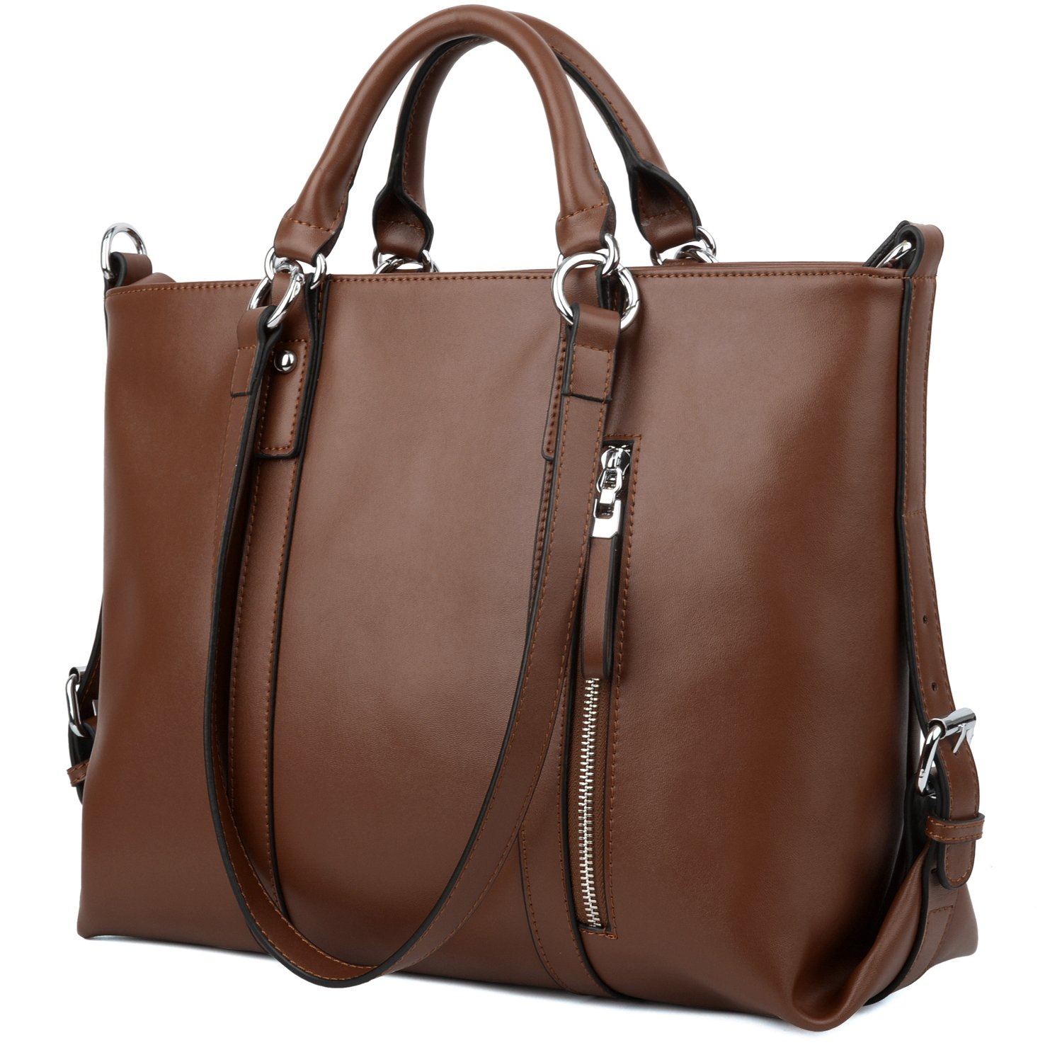 Yaluxe Women's Leather Work Tote Hobo Shoulder Bag 3 Carrying Way Dark Brown 11001692-9