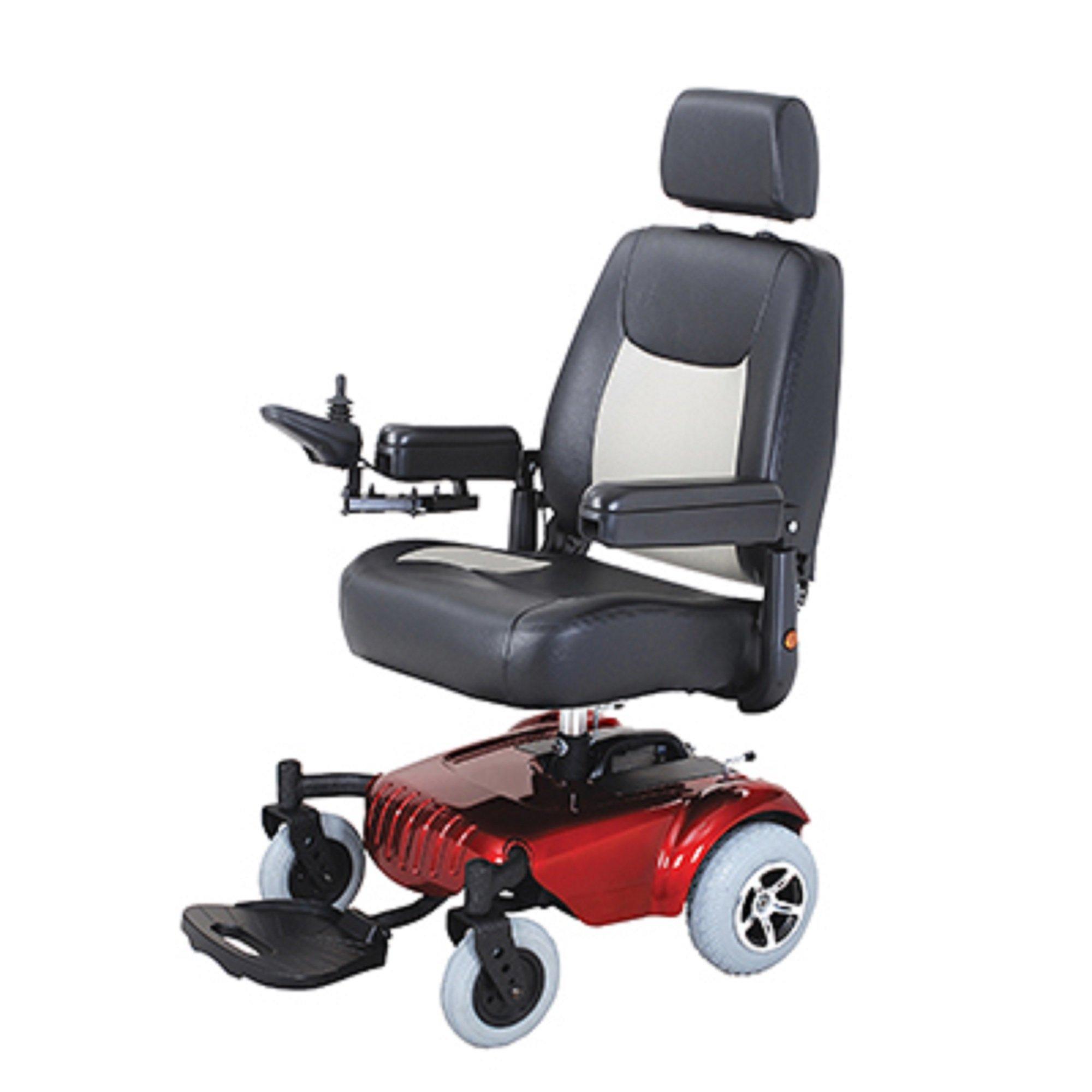 Merits Health Products - Junior - Super Light Mini RWD Power Chair - 19''W x 18''D - Red
