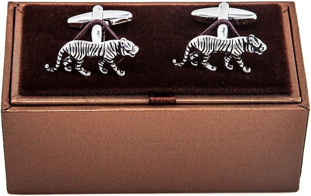 MRCUFF Tiger Big Cat Pair Cufflinks in a Presentation Gift Box & Polishing Cloth
