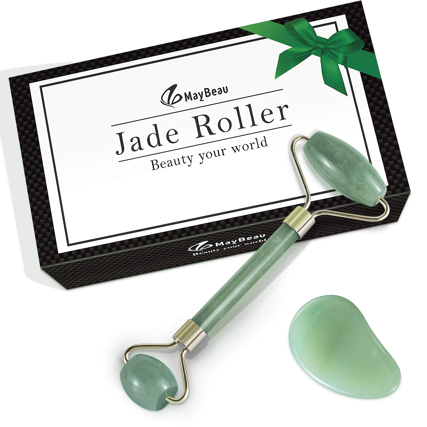 MayBeau Facial Jade Roller and Gua Sha Scrap Set,100% Natural Jade Stone Massager Anti Aging Facial Therapy,Rejuvenates Face and Neck Skin,Face Slimmer BESTOPE CA