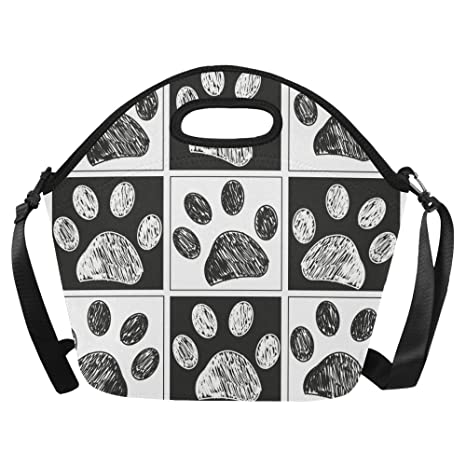 2107bb59619f Amazon.com: InterestPrint Large Lunch Bags Doodle Paw Lunch Bag ...