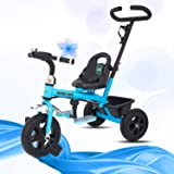 GoodLuck Baybee - 2 in 1 Convertible Baby Tricycle Kid's Trike with Parental Adjust Push Handle Children Tricycle/Bicycle with Seat Belt Kid's   Suitable for Boys & Girls - (1 to 5 Years) (Blue)