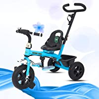 GoodLuck Baybee - 2 in 1 Convertible Baby Tricycle Kid's Trike with Parental Adjust Push Handle Children Tricycle/Bicycle with Seat Belt Kid's | Suitable for Boys & Girls - (1 to 5 Years) (Blue)
