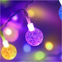 Coloured Globe String Lights Battery Operated,2 Pack 26.2FT 60 LED 16 Colour Changing Water Proof Crystal Ball Outdoor…