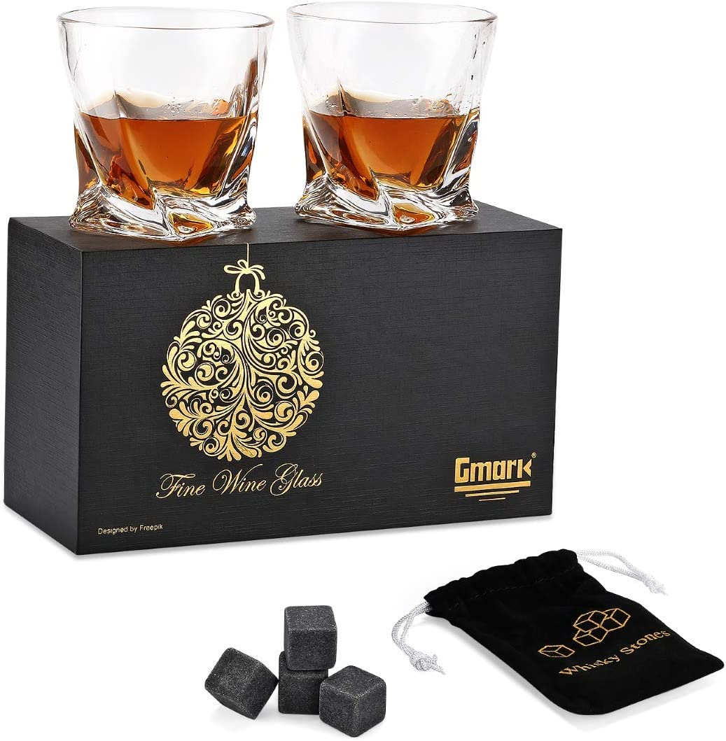Gmark Twist Design Whiskey Glasses 10oz Set of 2, with 4 Granite Chilling Whisky Rocks Scotch Glasses Old Fashioned Whiskey Tumblers Gift Pack. Lead Free Crystal Clarity Glassware for Scotch GM2027