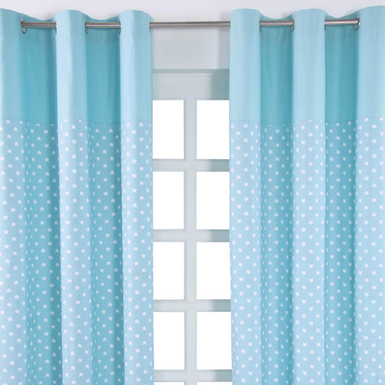 HOMESCAPES par de Cortinas de algodón Azul con Estrellas Blancas ...