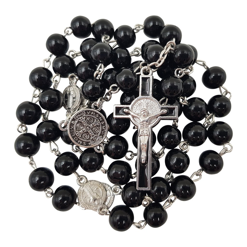 8mm Black Glass Beads CATHOLIC ROSARY NECKLACE Saint Benedict Medal & Cross Crucifix in Gift Box