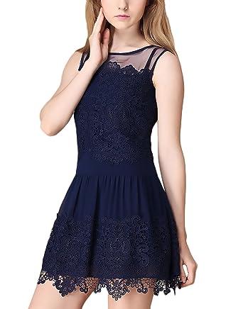 HX fashion Vestidos De Fiesta Cortos De Noche Verano Elegante Línea A Encaje Basic Vestido Vintage Sin Mangas Cuello Redondo Coctel Transparentes Azul ...
