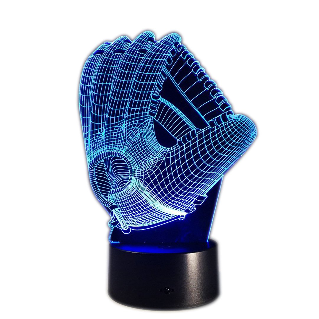 DB.WOR Baseball Glove Night Light - Colorful LED Lamp 7 Color Change Optical Illusion Touch Table Desk Lamp Birthday Gift for Men Boyfirend Boys Kids Baby by DB.WOR
