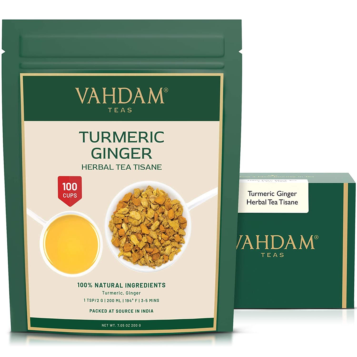 VAHDAM, Turmeric + Ginger POWERFUL SUPERFOOD Blend (100+ Cups) I CAFFEINE FREE Herbal Tea | POWERFUL Wellness & Healing TURMERIC for IMMUNITY | 100% NATURAL | Try COLD BREW or Hot Tea with Milk